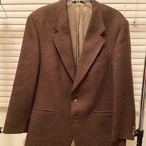 Kasper men's 100% wool brown tweed sport jacket